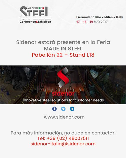 Sidenor estará presente en la Feria MADE IN STEEL