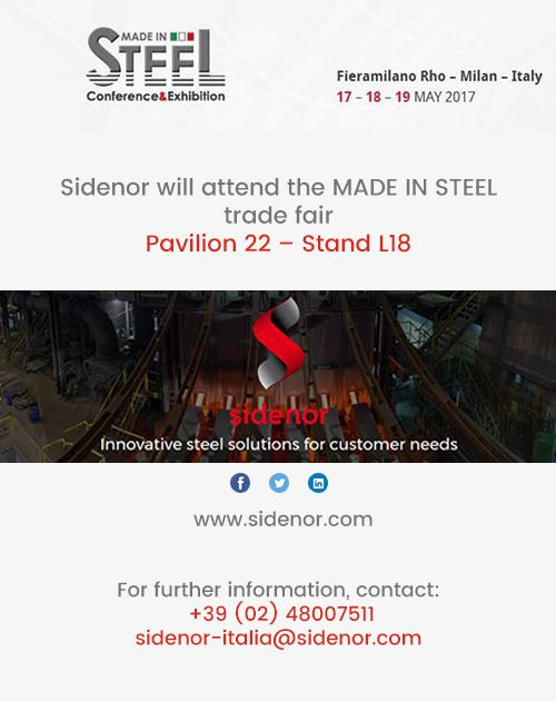 Sidenor will attend the MADE IN STEEL trade fair